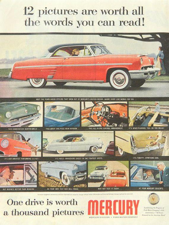 1953 Mercury Ad Vintage Car Ford Mercury By Dustydiggerlise 8 00 Vintage Cars Vintage Cars 1950s Car Advertising