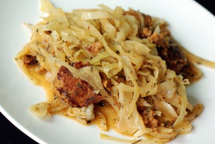 Braised Cabbage with Chorizo Seitan Sausage  Braised Cabbage with Chorizo Seitan Sausage