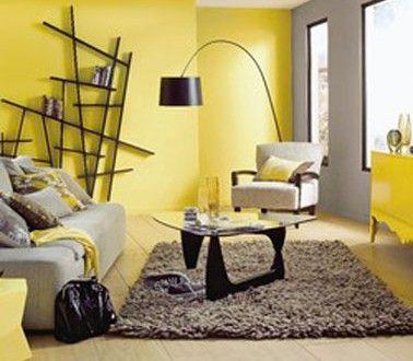 Dco salon couleur jaune gris taupe et noir  Deco  Yellow walls living room Grey yellow