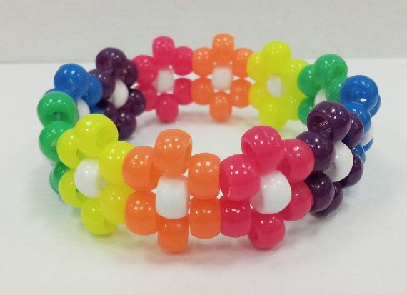 Kandi Pony Beads And Rave: Rainbow Neon Flower Kandi Cuff Beaded Bracelet- So Easy To
