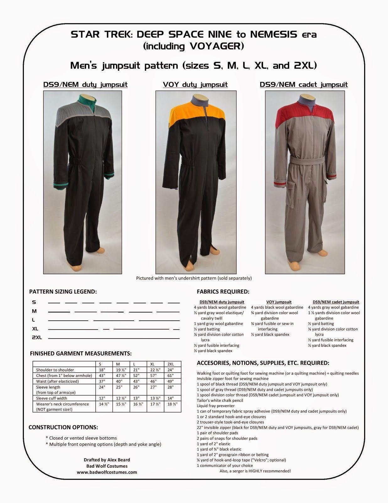 Star Trek: DS9/NEM and VOY Men\'s Jumpsuit Sewing Pattern   Fandom ...