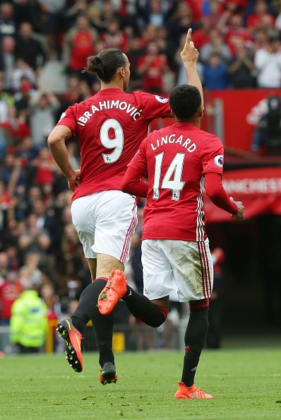 Zlatan Ibrahimovic Of Manchester United Celebrates Scoring His Team S First Manchester United Players Manchester United Soccer Manchester United Football Club