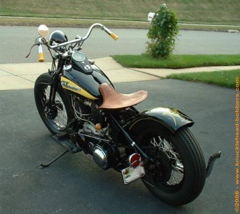 1939 Harley Knucklehead Bobber motorcycle.