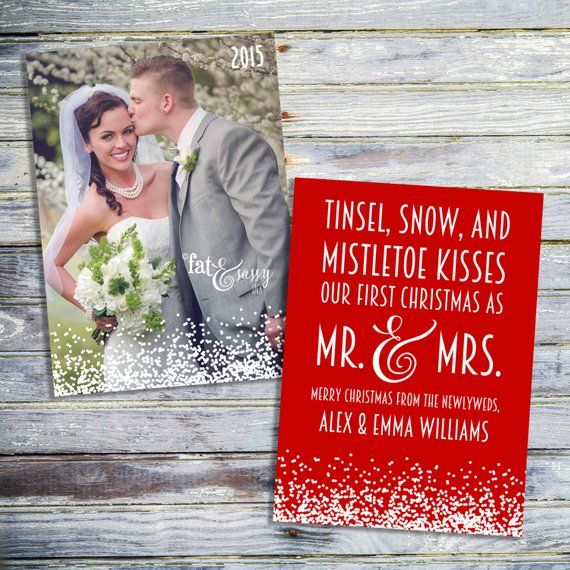 Our First Christmas As Mr And Mrs Card Just Married Newlywed Wedd