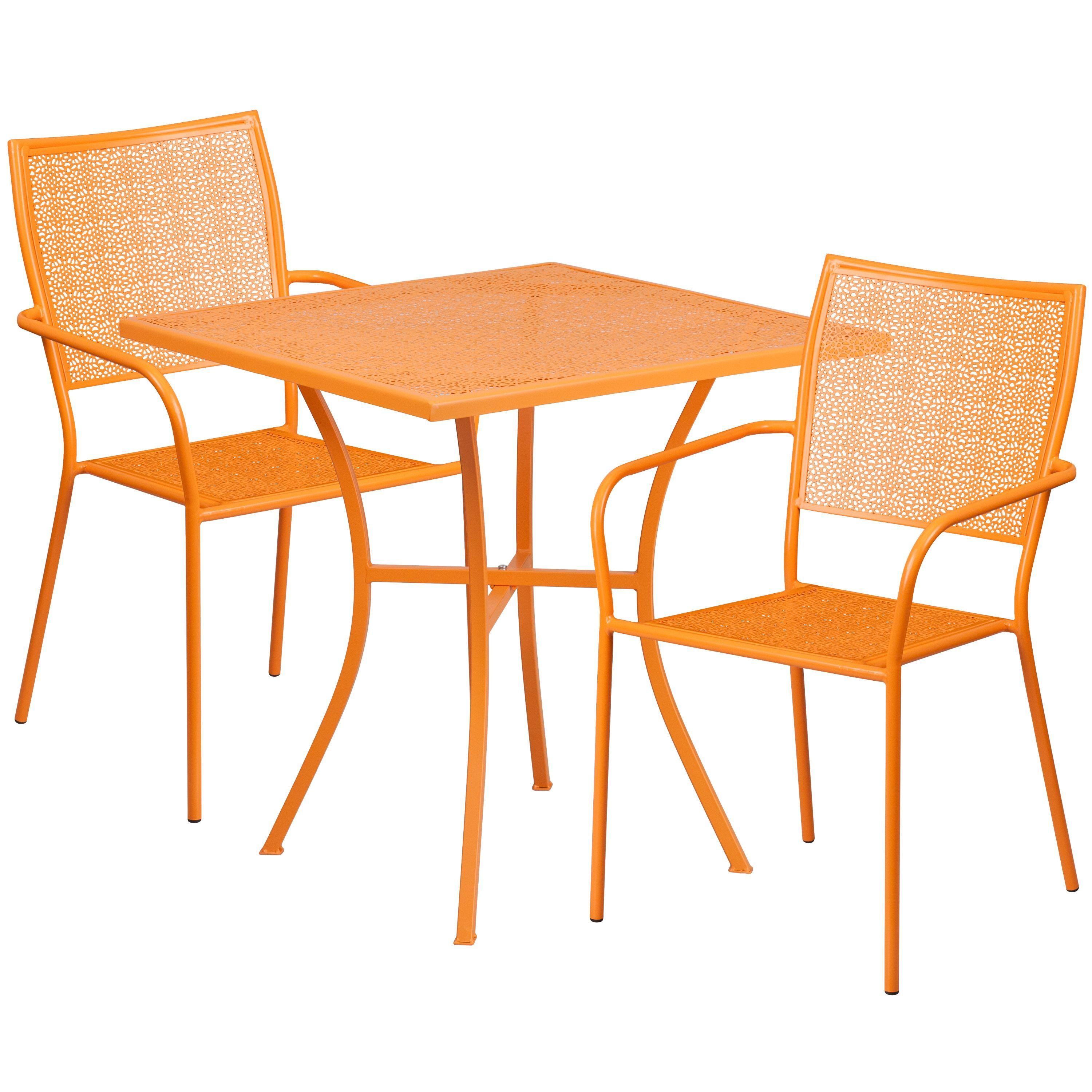 Karako 3 Piece Artistic Designed Orange Small Bistro Set
