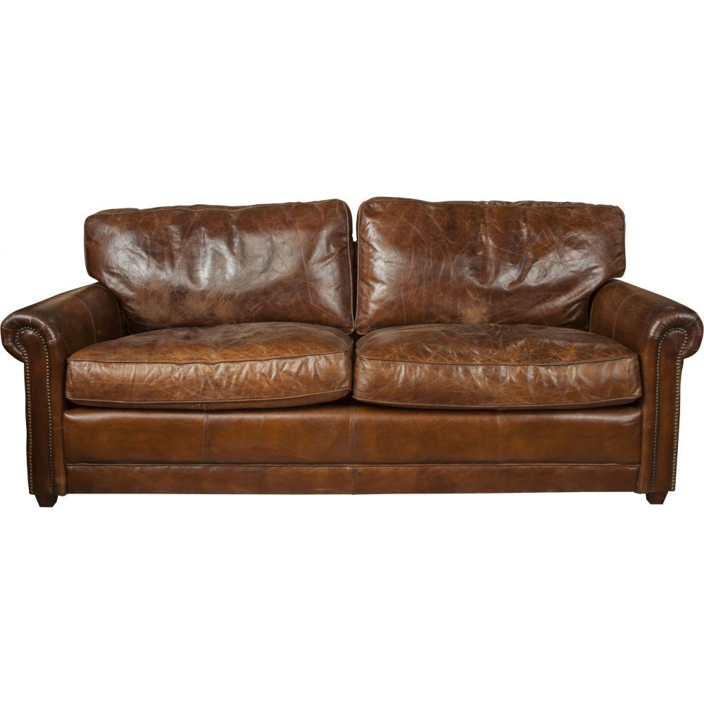 Oregon 3 Seater Leather Sofa, Vintage Cigar