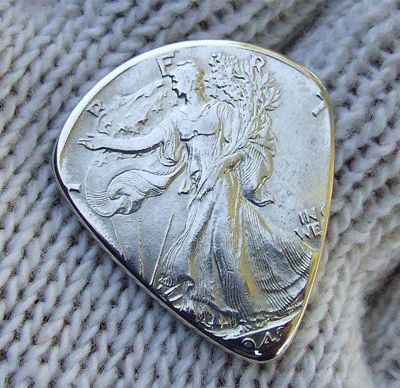 Handmade Coin Guitar Pick - 1943 Silver Walking Liberty Half Dollar