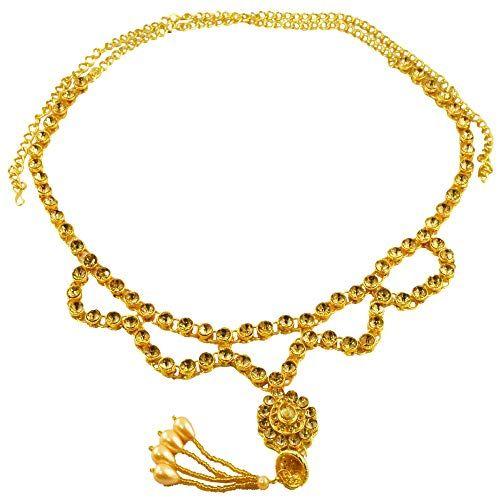 9502de42036 Tripti Indian Traditional Bridal Wedding Golden Kundan Waist Chain Belt  Kamarband for Women and Girls