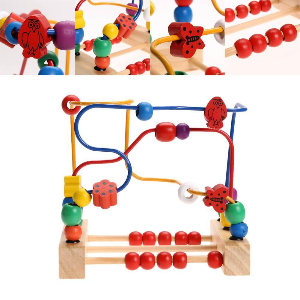 Colorful Baby Count Beads Wear Toys Mini Wooden Round Beads Kids Educational Toy