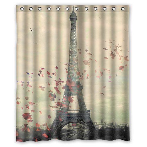 Custom Frech Paris Eiffel Tower City Of Love Flower Shower Curtain