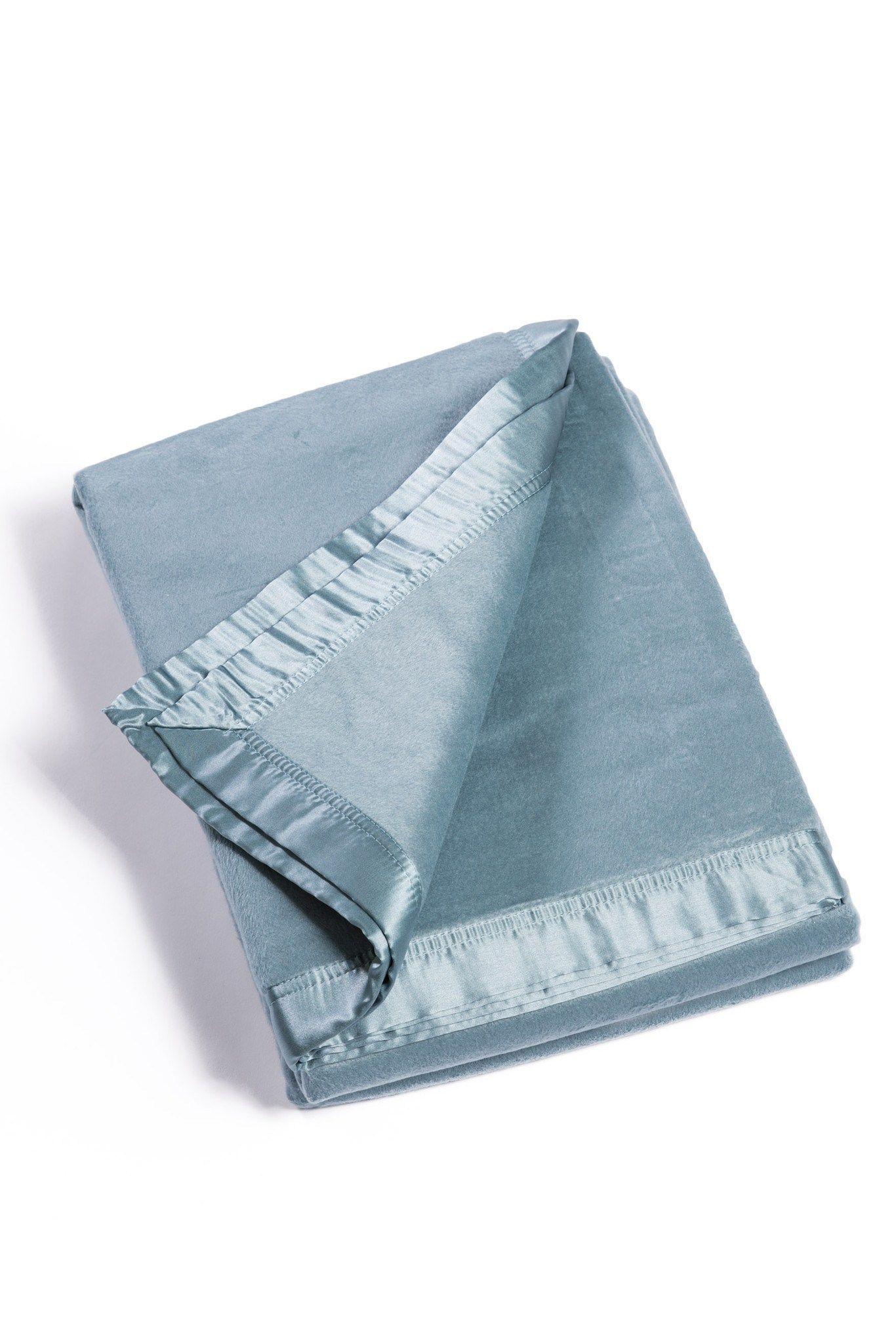 Micro velvet bamboo viscose blanket with silk trim optional