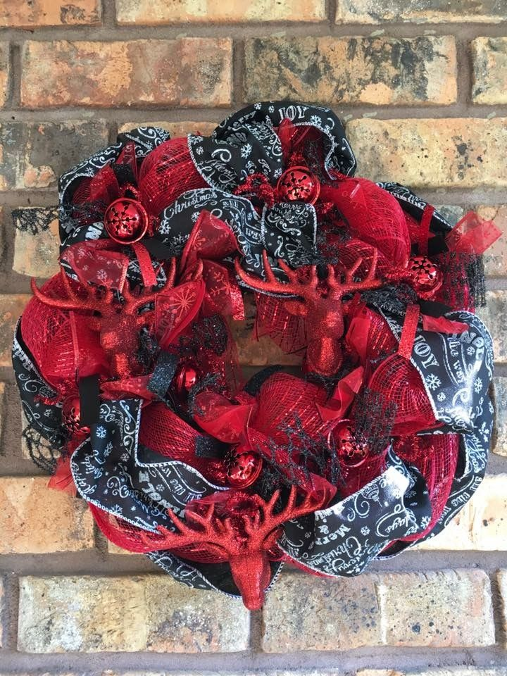 Red black buck bell Christmas mesh ribbon wreath by Shay The
