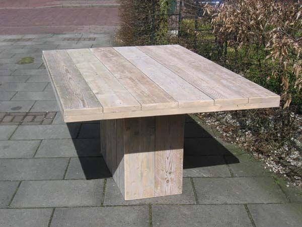 Steigerhouten Tafel Maken : Steigerhouten tafel met kolompoot en een prachtig blad we maken
