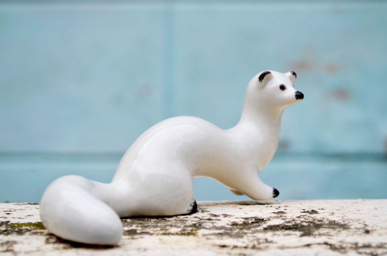 porcelain stoat ermine white ceramic animal figurine