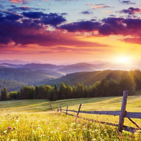 Photographic Print: Majestic Sunset in the Mountains Landscape.Carpathian, Ukraine. by Leonid Tit : 16x16in