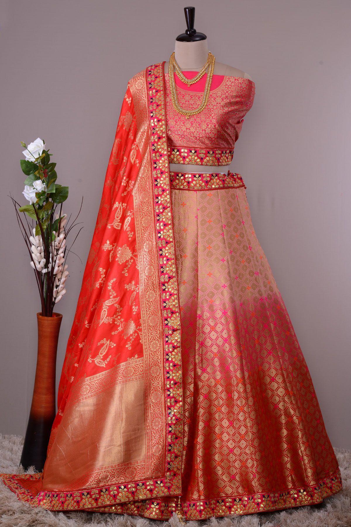 Buy Shaded Pink Red Zari Woven Banarasi Silk Bridesmaids Lehenga Online Banarasi Lehenga Lehenga Online Lehenga