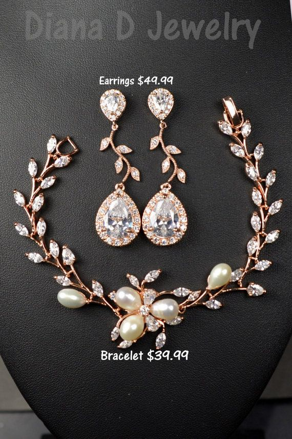 Crystal wedding earringsWedding jewelryRose Gold earrings Crystal