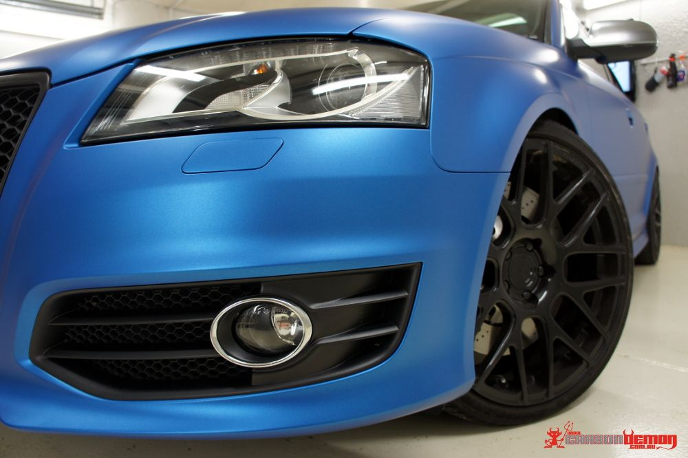 Audi S3 Matte Blue Metallic Vinyl Wrap Cars
