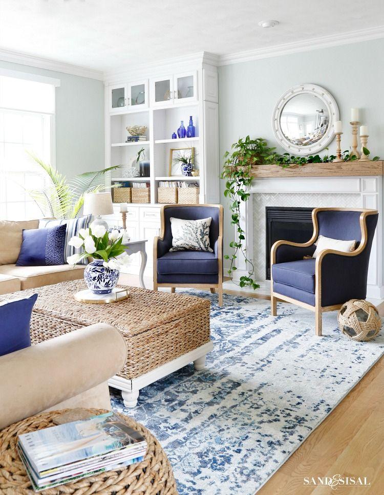 New Blue And White Living Room Updates Sand And Sisal Blue And White Living Room Coastal Decorating Living Room Family Room