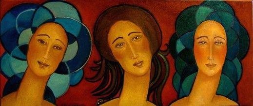 Painting Trzy gracje - Artist Krystyna Ruminkiewicz