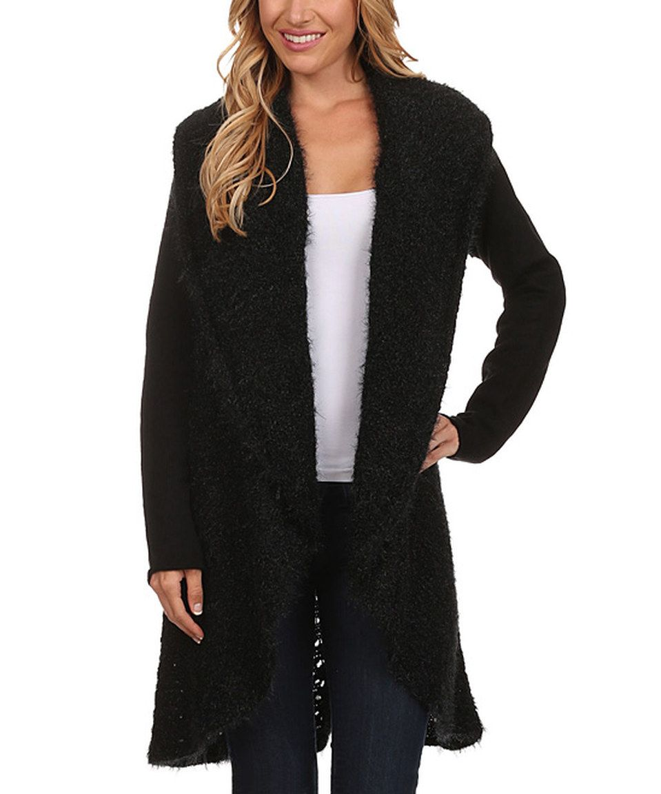 Look what I found on #zulily! High Secret Black Fuzzy Open Cardigan by High Secret #zulilyfinds