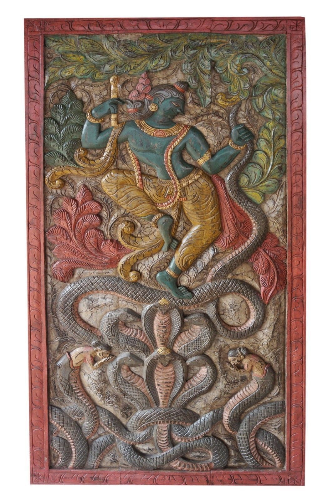 Vintage hand carved krishna door panel wall hanging indian sculpture