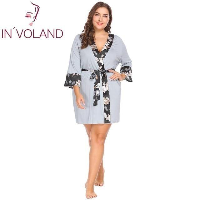 90f9ec9ab64 IN VOLAND Plus Size Women Sleepwear Robe Soft Kimono Dress Pajama Nightgown  Floral Satin Patchwork