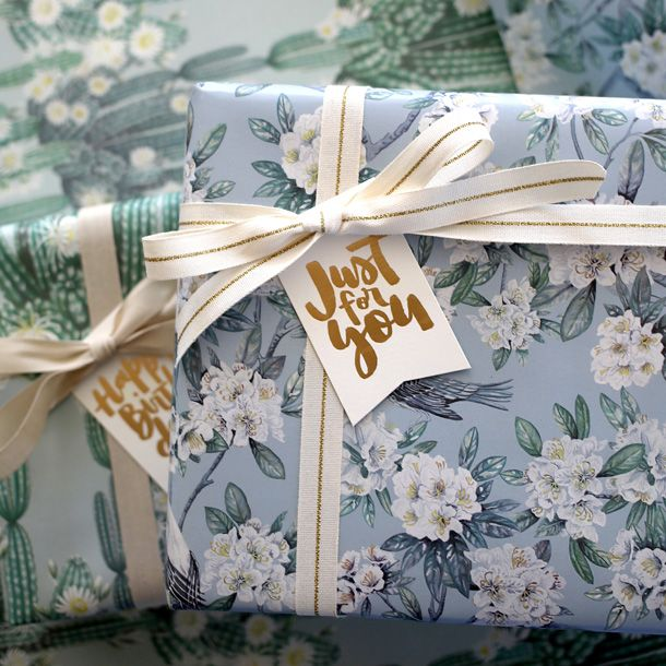Double Sided Gift Wrap   floral, cactus and flowers   for the