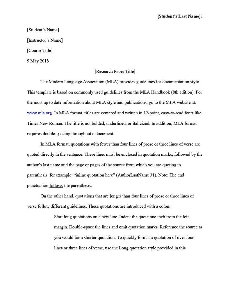 Mla Format Template And Faq Intended For Mla Format Word Template