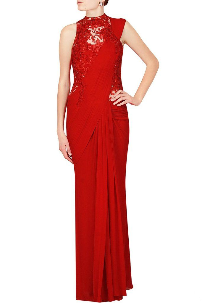 Red Colour Crepe Designer Saree Gown Online   My Big Day   Pinterest ...