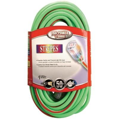 Southwire 100 Ft 10 3 Sjtw Hi Visibility Multi Color Outdoor Heavy Duty Extension Cord With Power Light Plug Green Red Outdoor Extension Cord Extension Cord Cord