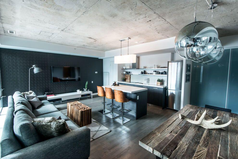 Гостиная в стиле лофт loft Pinterest Raum, Architektur und - wohnzimmer mit offener küche gestalten