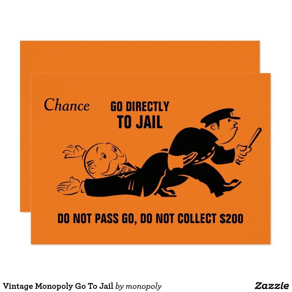 Vintage Monopoly Go To Jail Zazzle Com Monopoly Cards Custom Monopoly Monopoly Party