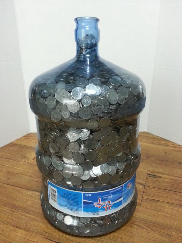 Ever Wonder How Much Money A 5 Gallon Water Jug Holds Saving Money Money Saving Plan Saving Coins