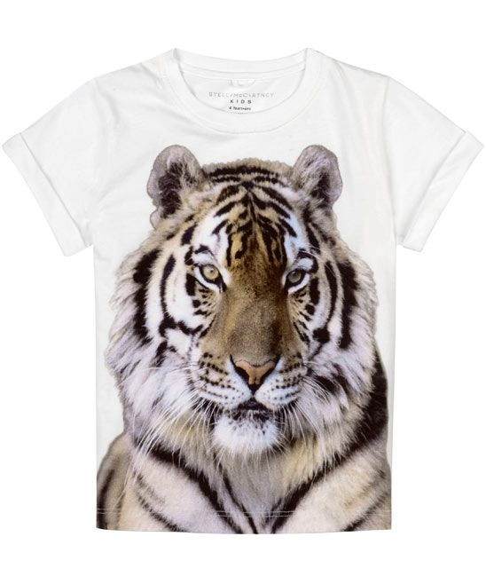 b50adb2e0be32 Age 2 to 6 White Tiger Print T-Shirt