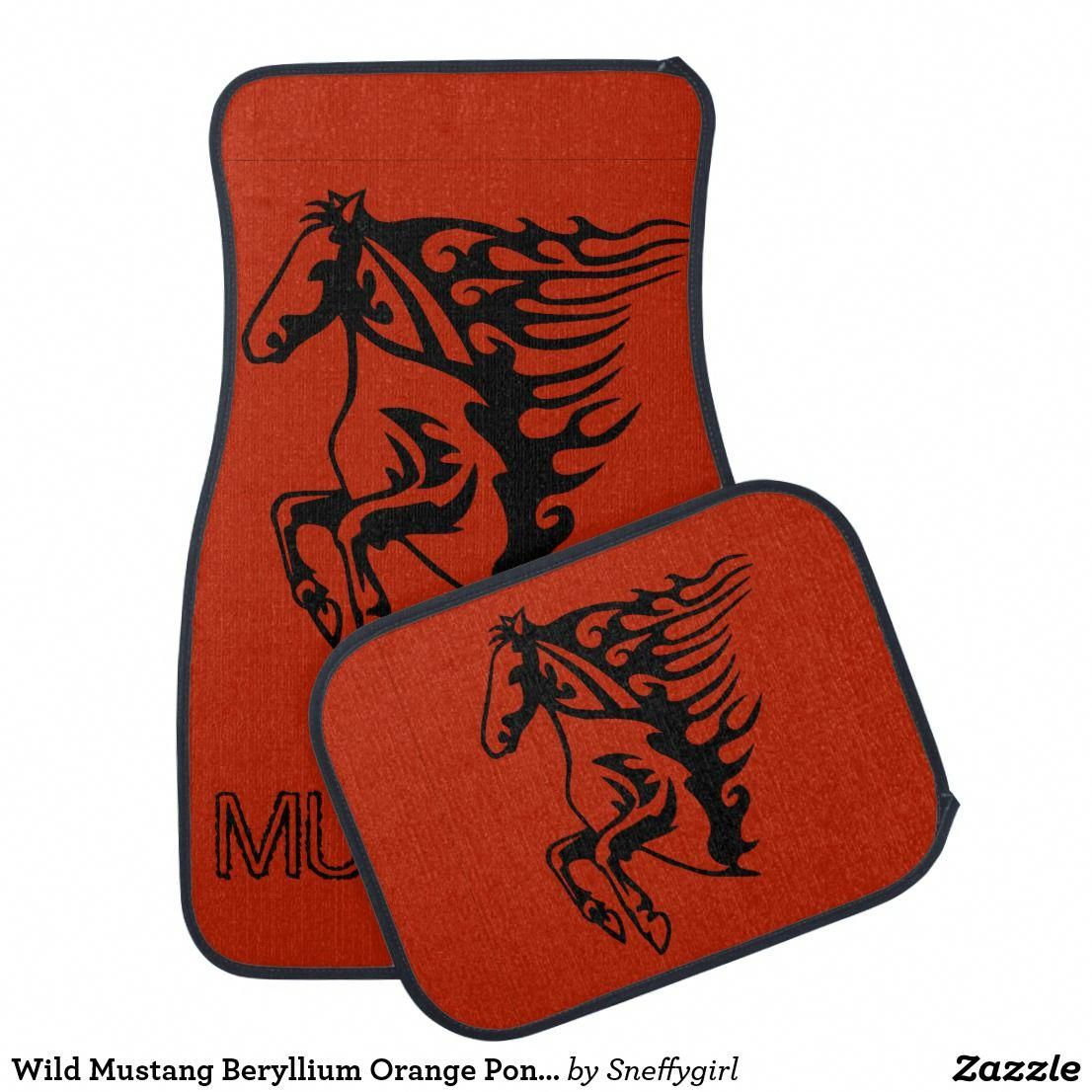 Wild Mustang Beryllium Orange Pony Horse Lineart Car Floor Mat Fordclassiccars Car Floor Mats Classic Cars Car Art