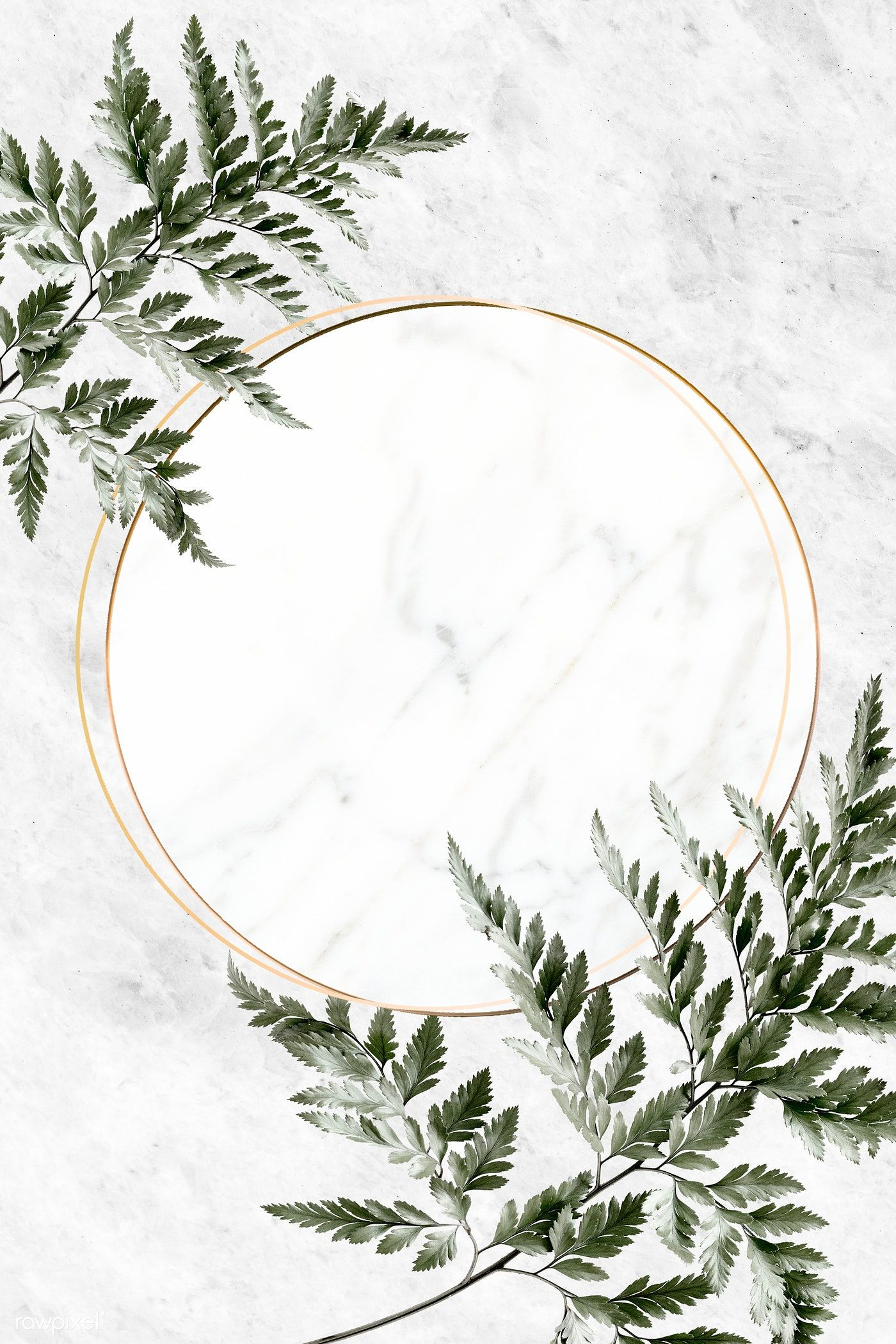 Download premium illustration of Round golden frame on a marble background