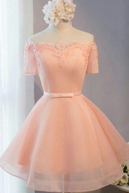 78883bba511 Pastel Orange Appliqued Tulle Off-shoulder Homecoming Dresses