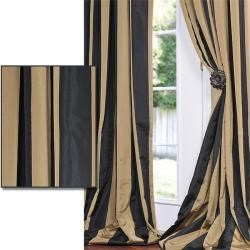 Black And Tan Curtains Curtain Ideas Home Blog - Black and gold stripe drapery fabric