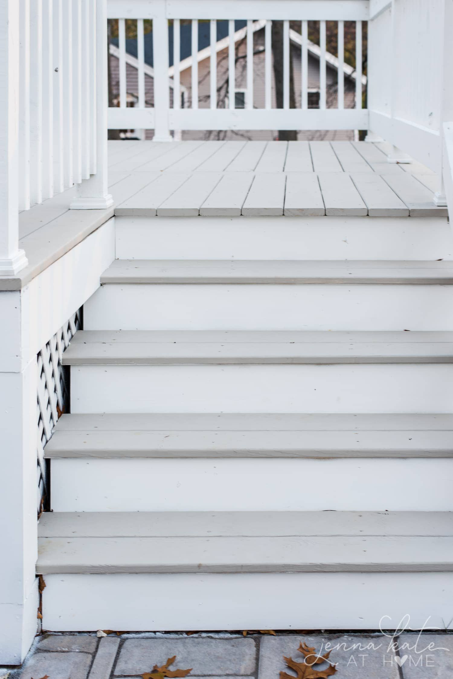 Sherwin Williams Intellectual Gray And Extra White Solid Deck Stain On New Wood Deck In 2020 Staining Deck Deck Paint Deck Paint Colors