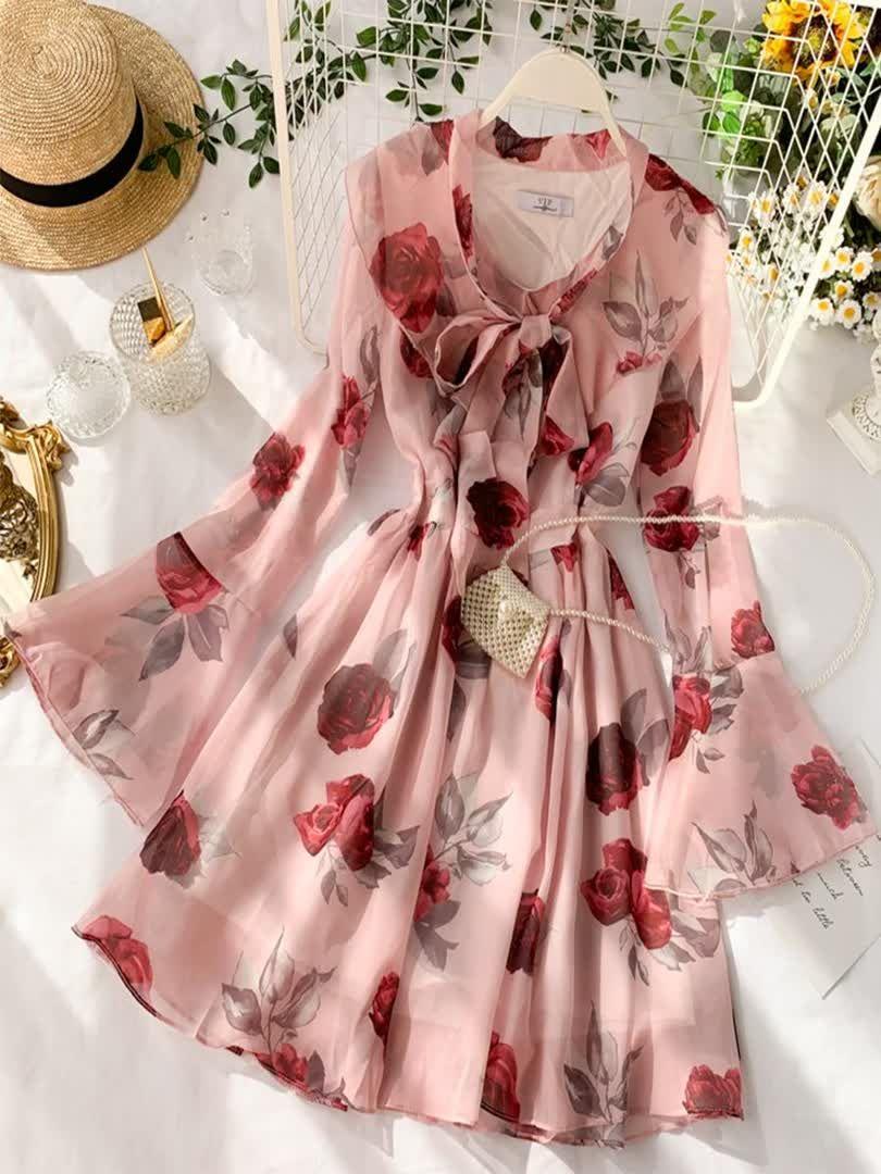 Women's Floral Print Long Sleeve V Neck Basics Midi A Line Dress Plant Mid Waist Dresses -   14 wrap dress Korean ideas