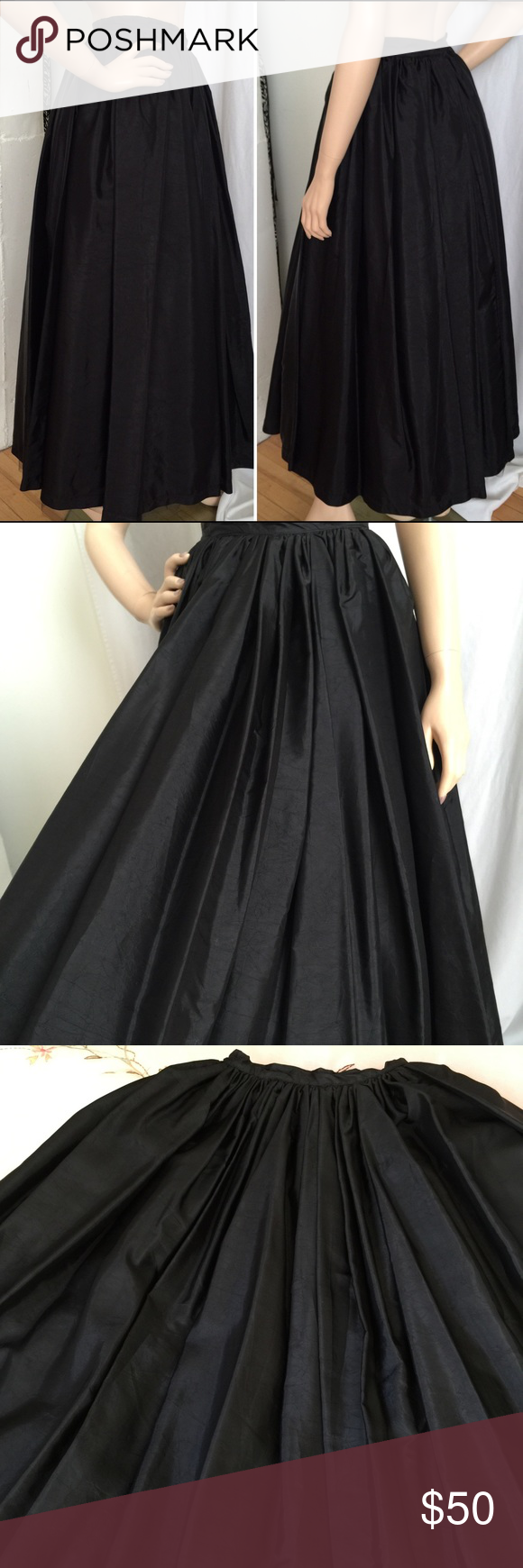 96a734517 Black Full Maxi Evening Skirt Classy black full circle skirt. Floor length,  fully lined with 2-layered tulle. Back zip closure. Fabric appears to be  silk.