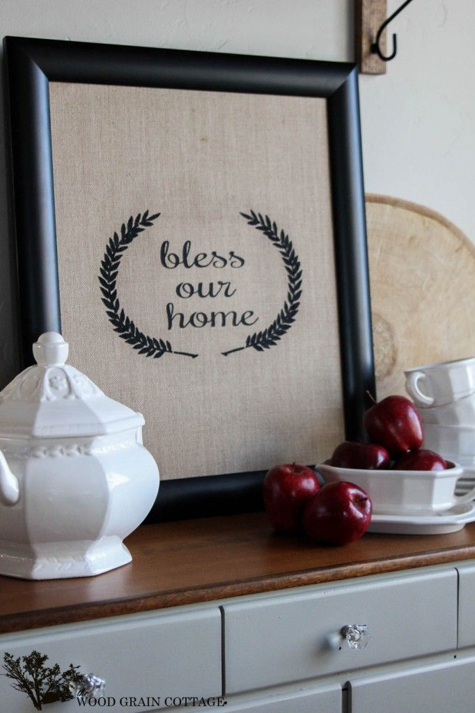 Bless Our Home Burlap Sign