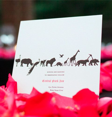 Animal themed wedding invitation idea