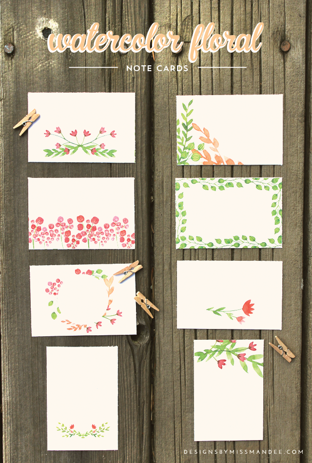 Watercolor floral note cards place cards note cards and birthday watercolor floral note cards designs by miss mandee use these for anything birthday gifts place cards labels or love notes printable my diy tips bookmarktalkfo Image collections