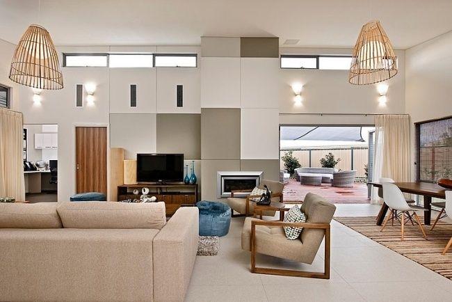 Wohnzimmer Modern Gestalten Creme Möbel Deko Wandplatten