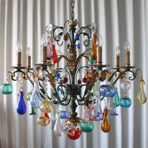 Murano glass fruit chandelier with 8 lights green metal frame beautiful murano glass ceiling wall floor and table chandeliers with coloured fruits mozeypictures Images
