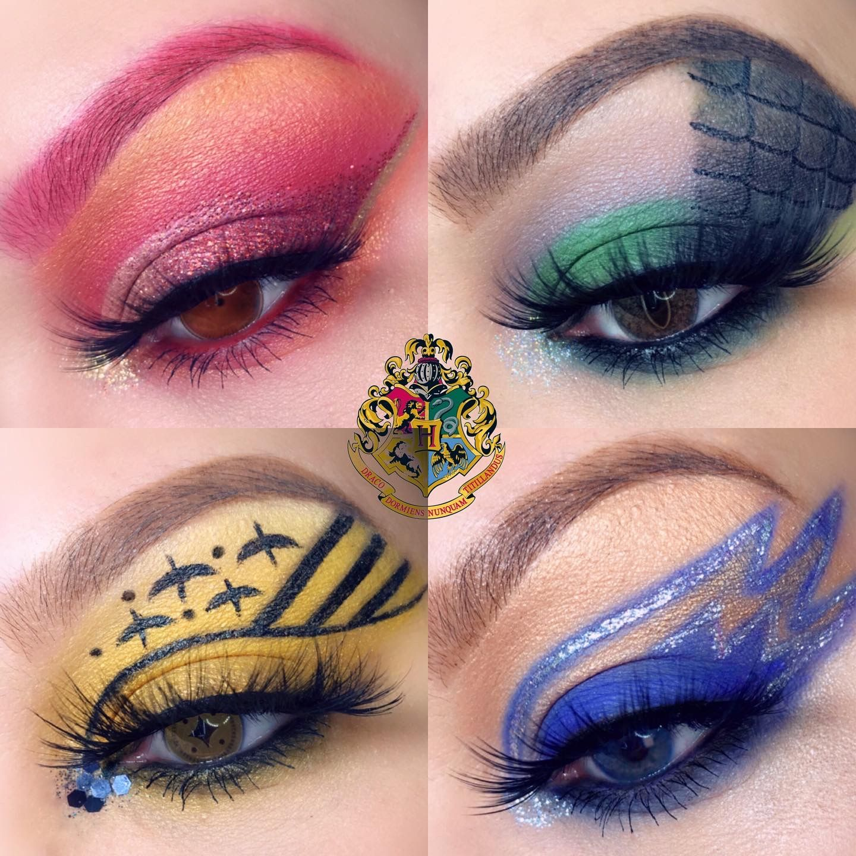 Hogwarts inspired eyelooks harry potter makeup makeup