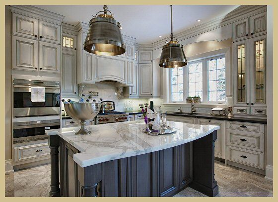Love The Fixtures The Island The Gorgeous Cabinets And Totally Gorgeous Countertops With Complimentr Home Kitchens Custom Kitchens Design Beautiful Kitchens