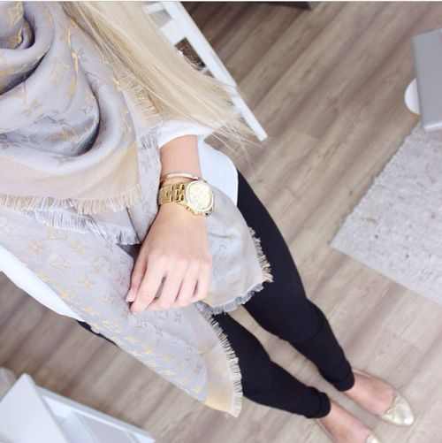 white tee // black leggings // beige and gold scarf ...